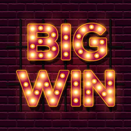 Big Win retro banner template with lightbulb glowing