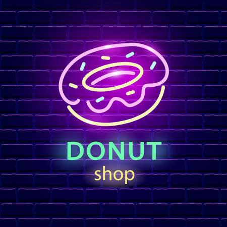 Donut shop neon logo sign on dark brick wall background.