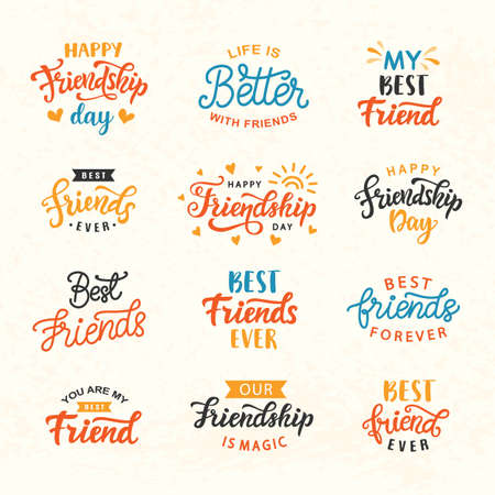 Happy Friendship Day hand lettering big set. Greeting card typography template. Modern calligraphy design elements for cute poster, banner, tee shirt print. Vector illustration. Illusztráció