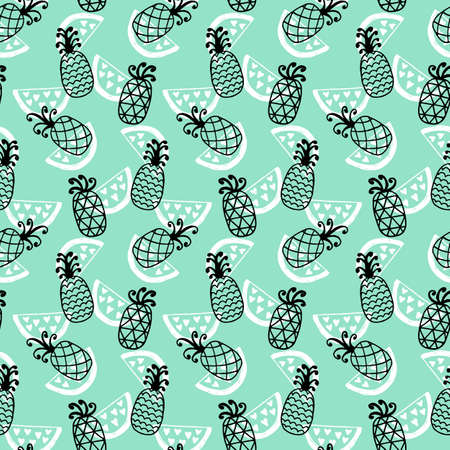 Pineapples seamless pattern on mint background. Hand drawn wallpaper for your business. Good for invitation card, scrapbook, wrapping paper, website background, fashion textile print.
