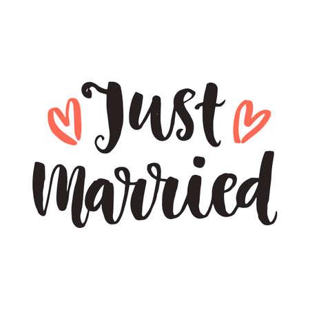 ちょうど結婚しました。結婚式の日招待レタリング  イラスト・ベクター素材