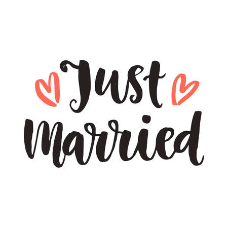 Just married. Wedding day invitations lettering Illustration