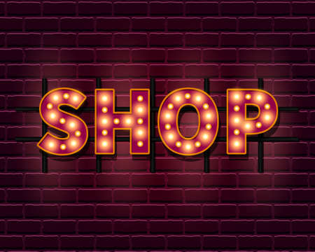 Shop light banner template with lightbulb glowing Illustration