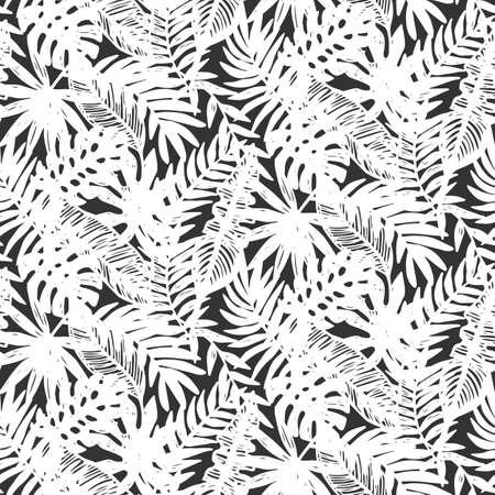 Hojas tropicales patrón transparente Foto de archivo - 82441794