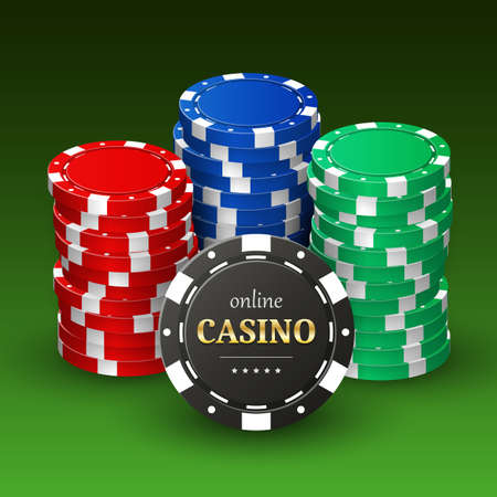 Online casino banner with realistic 3d plastic chips