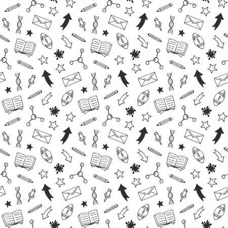 School hand drawn doodle seamless pattern