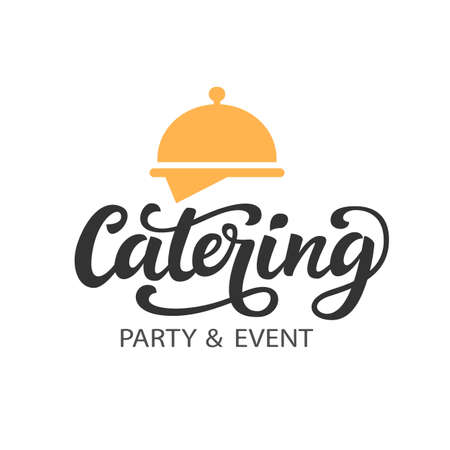 Catering vector logo badge with hand written modern calligraphy Stock fotó - 82742559