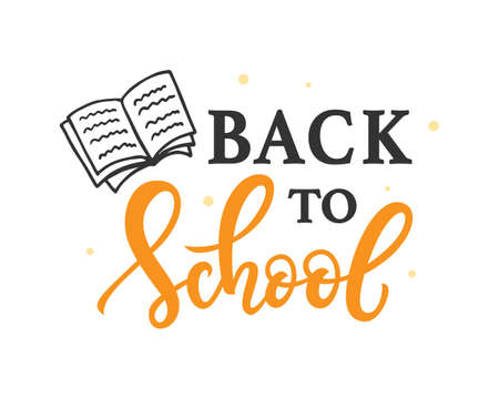 Back to school banner template with hand drawn ink modern calligraphy and doodles