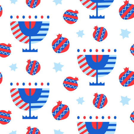 Vector seamless pattern with Hanukkah menorah and pomegranates icons