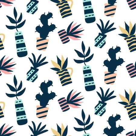 Succulenten planten kleurrijke naadloze patroon, geïsoleerd op wit Stock Illustratie