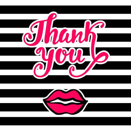 레트로 80 년대 밝은 카드, 90 년대 팝 아트 스타일, 핑크색 입술 키스