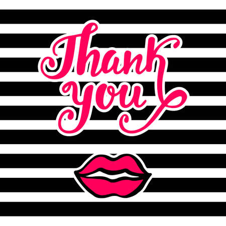 Thank You bright card in retro 80s, 90s pop art style, with pink lips kiss