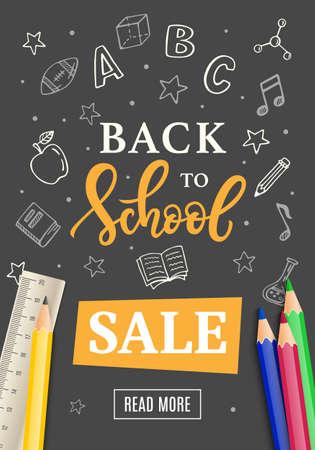 Torna a scuola vendita banner modello con disegnati a mano scuola icone di scuola su spiaggia. inchiostro moderna calligrafia e poligrafia illustrazione vettoriale