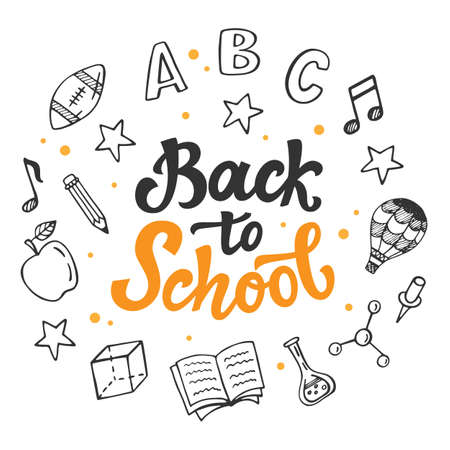 Back to school banner template with hand drawn school supplies icons. Ink modern calligraphy and doodles. Vector illustration. Illustration
