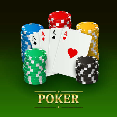リアルなカードとプラスチック製のチップのイラストでポーカーのバナーです。
