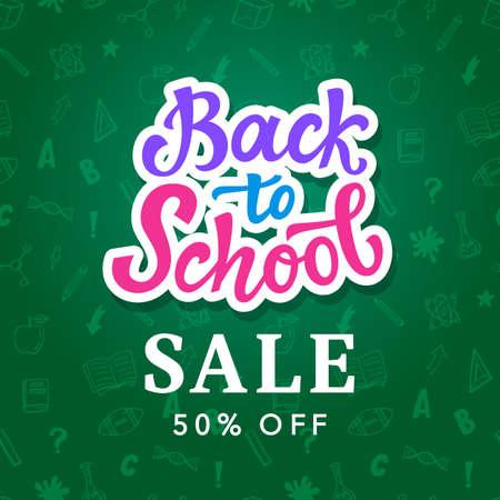 Back to school sale banner template. Vector Illustration