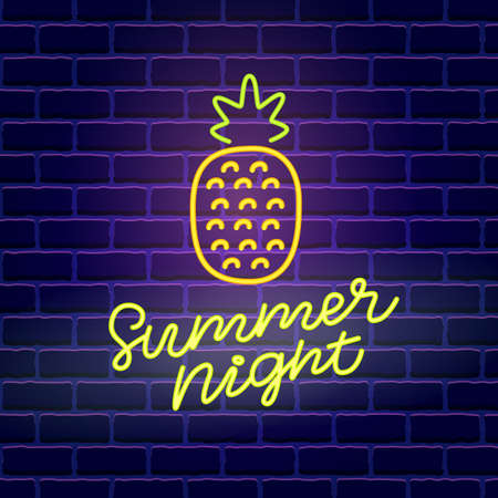 Summer night neon banner template.