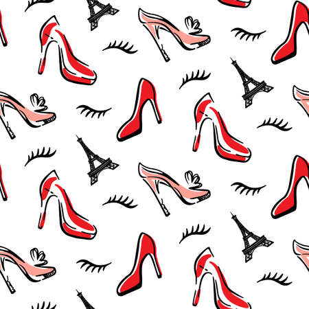 Mode Naadloze patroon achtergrond met rode schoenen Stock Illustratie