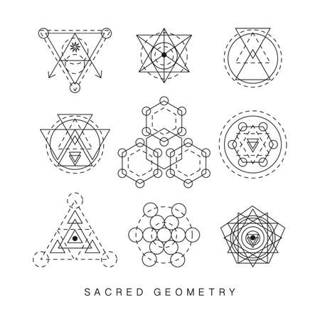 Sacred geometry signs set