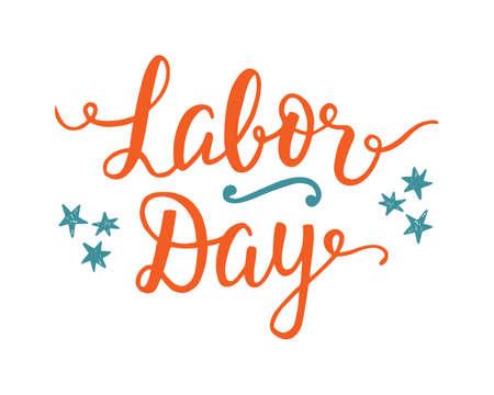 労働者の日手書きのレタリングと休日の装飾の要素を持つユニークなポスター。タイポグラフィのプラカード、チラシ、グリーティング カードのデ  イラスト・ベクター素材