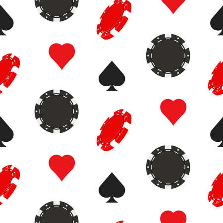 Casino poker seamless pattern with card suits and chips. Vector illustration. Иллюстрация