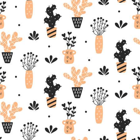 多肉植物のシームレス パターン  イラスト・ベクター素材