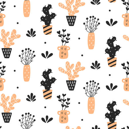 Succulents plants seamless pattern Illustration