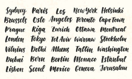 City Names Hand Written Brush Calligraphy Big Set Ilustração
