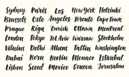 City Names Hand Written Brush Calligraphy Big Set Illustration
