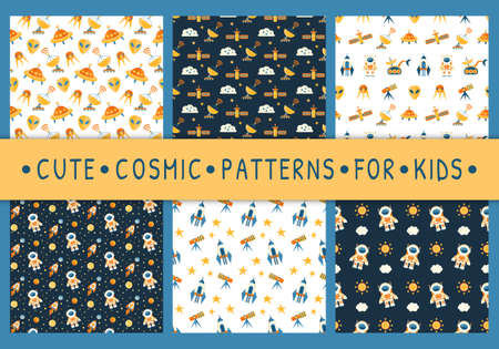 Set of cute seamless cosmic patterns for kids 向量圖像
