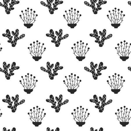 多肉植物のシームレスなパターン、ブラック シルエット  イラスト・ベクター素材