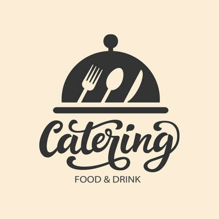 Catering vector logo badge with hand written modern calligraphy Zdjęcie Seryjne - 84070202