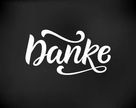 Thank you in german. Hand written lettering