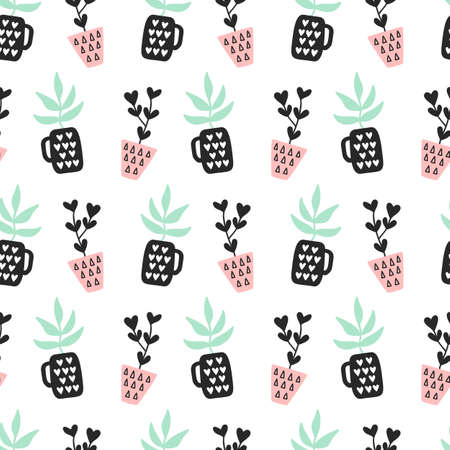 Succulents plants seamless pattern Çizim
