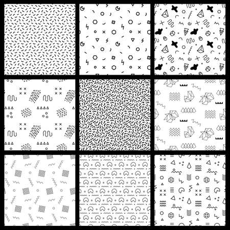 Retro memphis seamless patterns. 80-90s fashion style