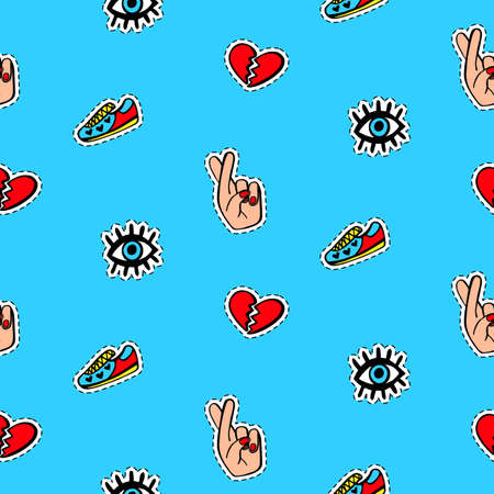 Seamless pattern with fashionable patch badges set, on blue background