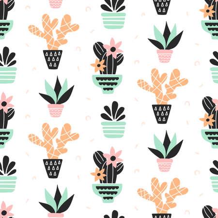 즙이 많은 식물 원활한 패턴, 민트와 석 영 색상, 흰색에 격리