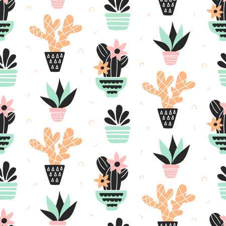 Succulents plants seamless pattern, mint and quartz colors, isolated on white