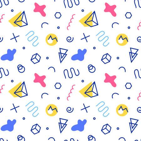 Retro memphis pattern. 80-90s fashion style Ilustração