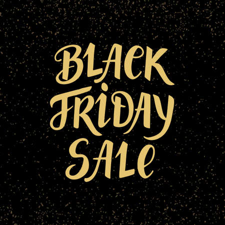 Black Friday Sale banner with hand lettering on dark background