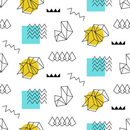 Retro memphis seamless pattern. 80-90s fashion style