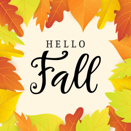 Hello fall banner template with bright colorful leaves
