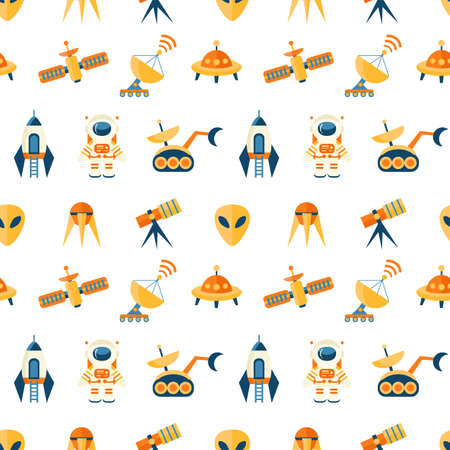 Cute seamless cosmic pattern for kids Illustration