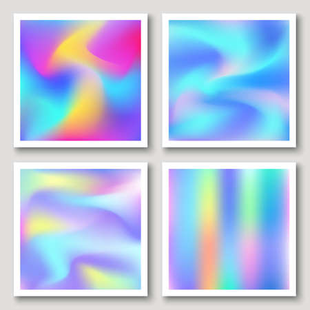 Holographic hipster abstract backgrounds set Illustration
