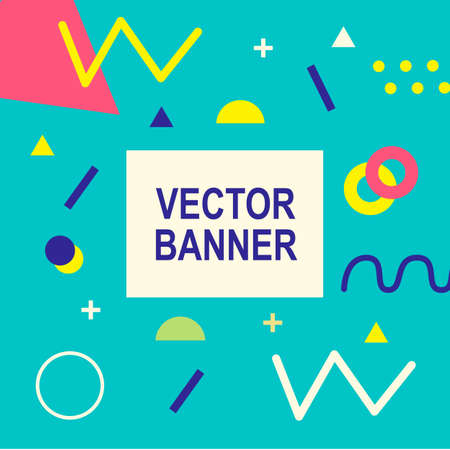 Memphis style banner template. 80-90s trendy fashion background with geometric shapes Иллюстрация