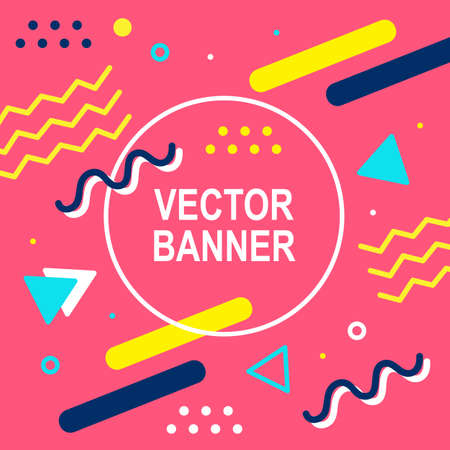 Memphis style banner template. 80-90s trendy fashion background with geometric shapes Illustration