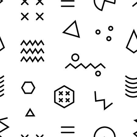 Retro memphis seamless pattern. 80-90s fashion style abstract geometric background Illustration