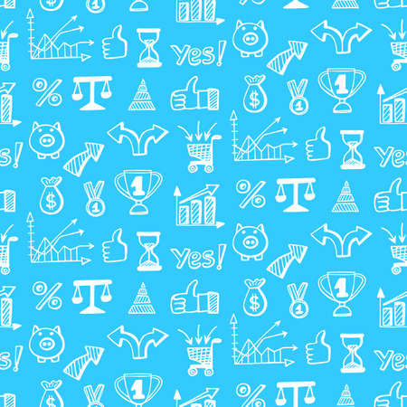 Vector seamless pattern with hand drawn business doodle icons