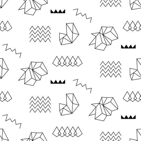 Retro memphis seamless pattern. 80-90s fashion style abstract geometric background. Textile print, wallpaper, wrapping paper, cover design. Vector illustration.