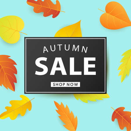 Autumn Sale Fashionable Banner Template with Colorful Fall Leaves on bright trendy blue background. Shopping Discount promotion. Poster, card, flyer, label trendy design. Vector illustration